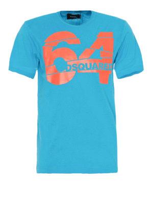 adb2270b7 DSQUARED2: t-shirt - T-shirt azzurra con stampa 64