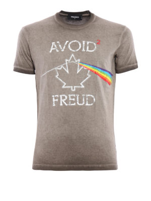 Dsquared2: t-shirts - Avoid Freud print garment dyed Tee