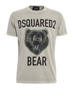 Dsquared2: t-shirts - Bear print cotton T-shirt