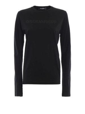 DSQUARED2: t-shirt - T-shirt a maniche lunga e logo di paillettes