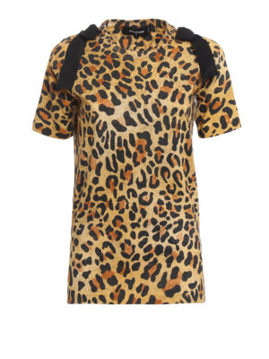 Dsquared2: t-shirts - Bow detailed leopard print Tee