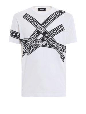 DSQUARED2: t-shirt - T-shirt con stampa nastro adesivo logato