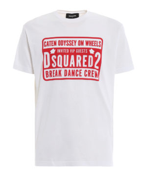 DSQUARED2: t-shirt - T-shirt con stampa Break Dance Crew