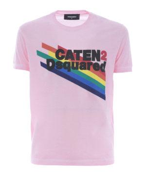 DSQUARED2: t-shirt - T-shirt rosa con logo arcobaleno