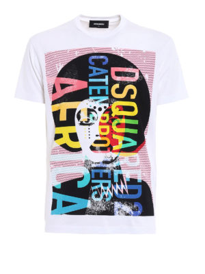 Dsquared2: t-shirts - Colourful Africa print cotton Tee