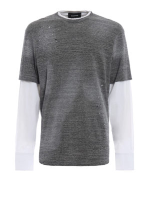 DSQUARED2: t-shirt - T-shirt in cotone con manica lunga in tela