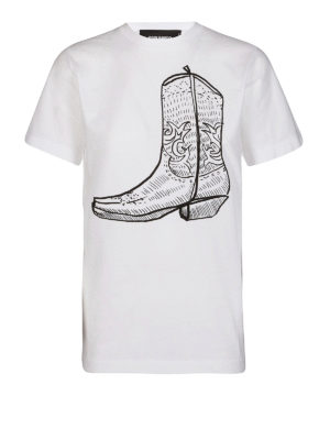 DSQUARED2: t-shirt - T-shirt in jersey con stampa stivale texano