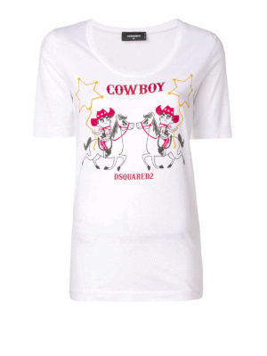 DSQUARED2: t-shirt - T-shirt in jersey di cotone con stampa Cowboy