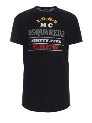 DSQUARED2: t-shirt - T-shirt in lana con stampe craquelé