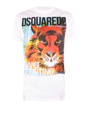 Dsquared2: t-shirts - D2 Tiger print cotton T-shirt