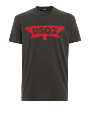 DSQUARED2: t-shirt - T-shirt verdone con stampa DSQ2