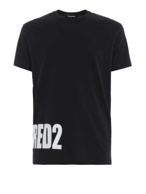 DSQUARED2: t-shirt - T-shirt nera in cotone con stampa Dsquared2