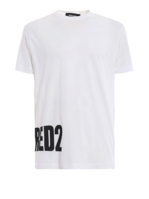 DSQUARED2: t-shirt - T-shirt bianca in cotone con stampa Dsquared2