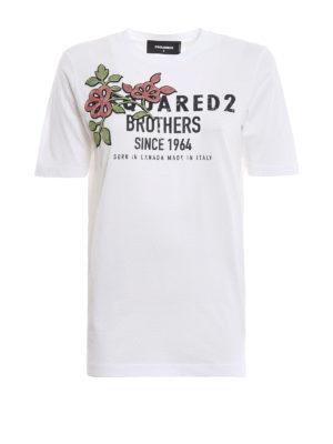 DSQUARED2: t-shirt - T-shirt bianca a manica corta con ricamo