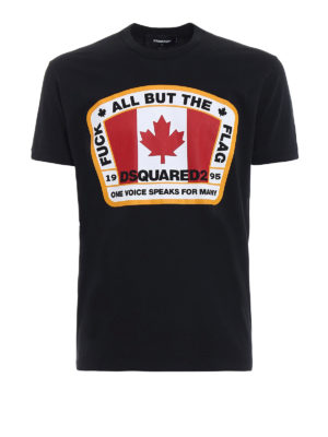 Dsquared2: t-shirts - F**k All But The Flag cotton Tee