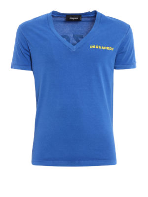 Dsquared2: t-shirts - Garment dyed V-neck Tee