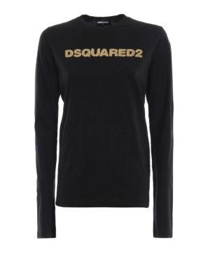 DSQUARED2: t-shirt - T-shirt a maniche lunga con ricamo dorato
