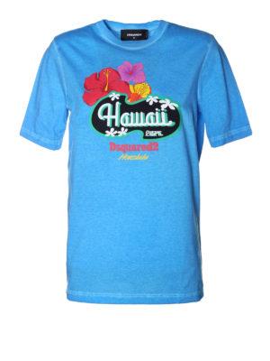 DSQUARED2: t-shirt - T-shirt azzurra Hawaii Caten