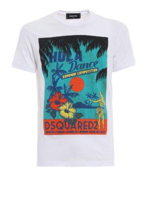Dsquared2: t-shirts - Hula Dance white T-shirt