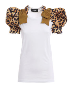 Dsquared2: t-shirts - Leopard print puff sleeved T-shirt