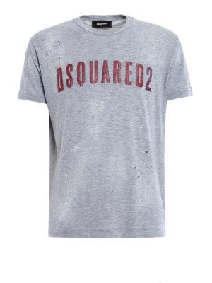 Dsquared2: t-shirts - Logo lettering maxi print T-shirt