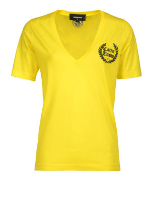 Dsquared2: t-shirts - Logo patch cotton T-shirt