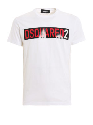 DSQUARED2  t-shirt - T-shirt bianca con stampa logo 3498f41c5d9a