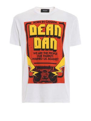 DSQUARED2: t-shirt - T-shirt con maxi stampa Dean Dan