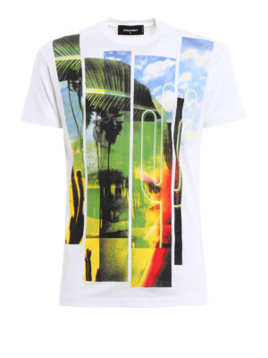 Dsquared2: t-shirts - Multicolour printed cotton Tee