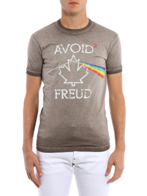 Dsquared2: t-shirts online - Avoid Freud print garment dyed Tee