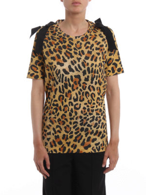 Dsquared2: t-shirts online - Bow detailed leopard print Tee