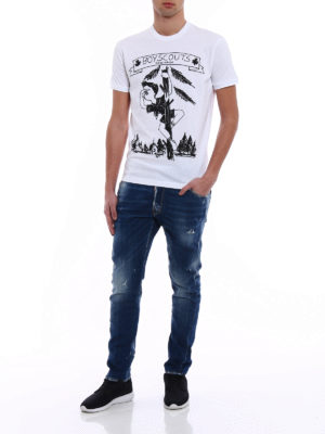 Dsquared2: t-shirts online - Boy Scouts print cotton T-shirt
