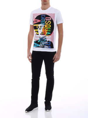 Dsquared2: t-shirts online - Colourful Africa print cotton Tee