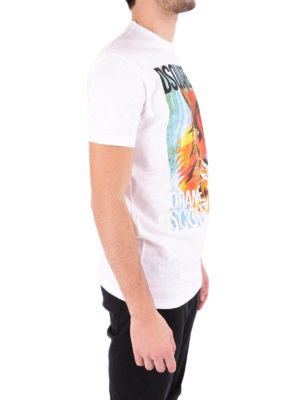Dsquared2: t-shirts online - D2 Tiger print cotton T-shirt