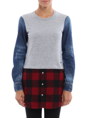 Dsquared2: t-shirts online - Denim check mix T-shirt