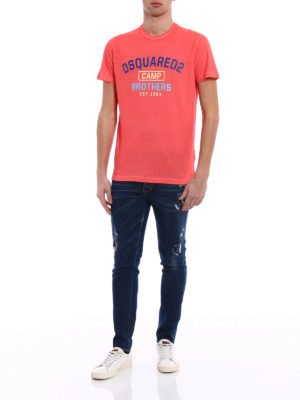 Dsquared2: t-shirts online - Dsquared2 Camp Brothers orange Tee