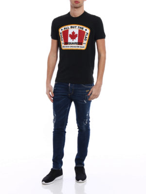 Dsquared2: t-shirts online - F**k All But The Flag cotton Tee