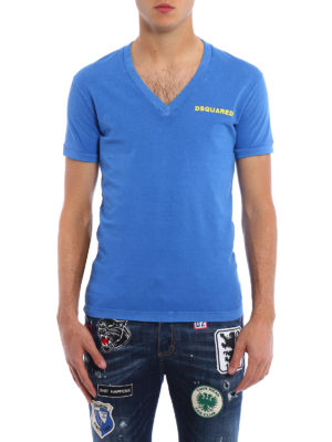 Dsquared2: t-shirts online - Garment dyed V-neck Tee
