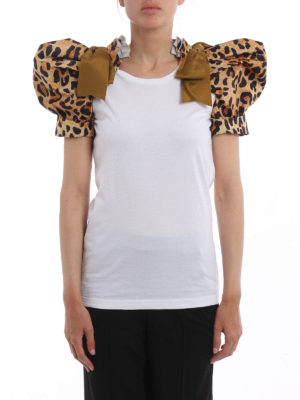 Dsquared2: t-shirts online - Leopard print puff sleeved T-shirt