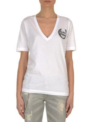 Dsquared2: t-shirts online - Logo patch cotton T-shirt