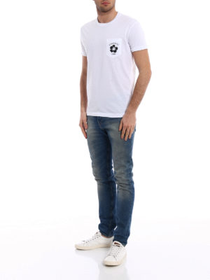 Dsquared2: t-shirts online - Logo printed pocket white T-shirt