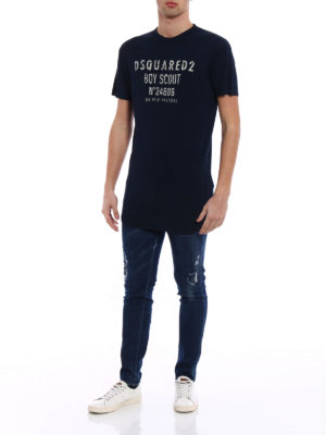 Dsquared2: t-shirts online - N°24689 print oversize cotton Tee