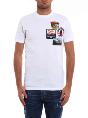Dsquared2: t-shirts online - Patch detailed cotton T-shirt
