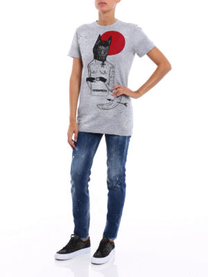 Dsquared2: t-shirts online - Printed and drilled T-shirt