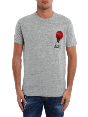 Dsquared2: t-shirts online - Printed chest pocket cotton T-shirt