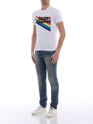 Dsquared2: t-shirts online - Rainbow logo cotton T-shirt