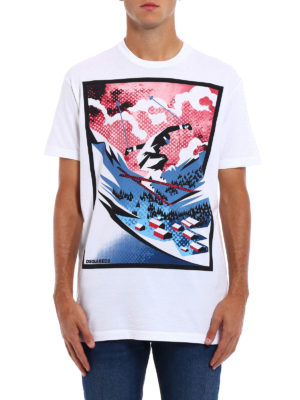 Dsquared2: t-shirts online - Skier print cotton T-shirt