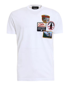Dsquared2: t-shirts - Patch detailed cotton T-shirt