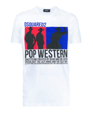 DSQUARED2: t-shirt - T-shirt Pop Western in jersey di cotone