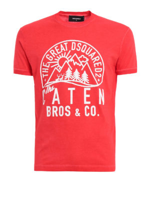 Dsquared2: t-shirts - Printed garment dyed T-shirt